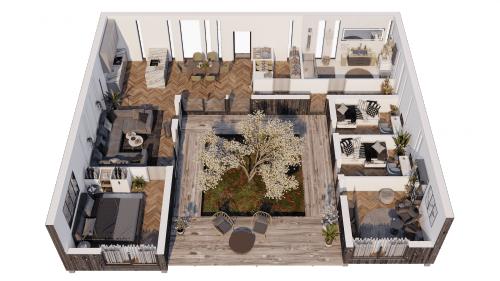 villa himlavalv 3d-plan