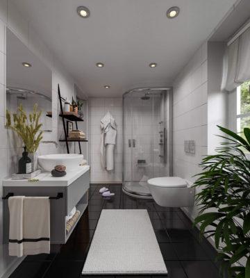 Ingen kompromiss på utrymmet på toalett- Attefallshus Bolundare Maria Heliodal Badrum